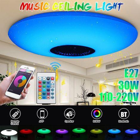 (Interrupteur Mural / Controle App Mobile / Telecommande) 30W E27 Plafonniers Led Bluetooth Musique Light Rgb Dimmable Foyer Enfants Chambre Starry Sky Effect Modern Plafonnier