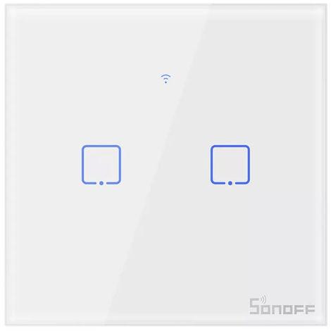 Interrupteur Mural Wifi 2 Bandes, Commutateur De Lumiere Tactile Intelligent, Ac100-240V, Sonoff