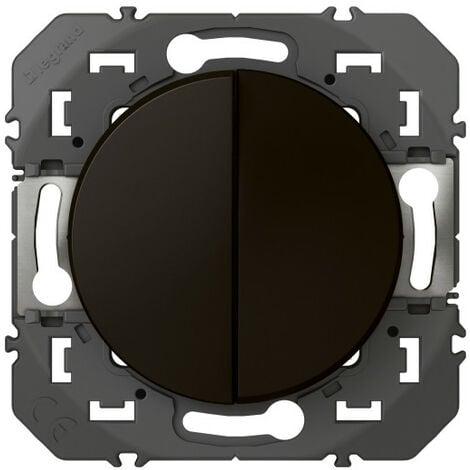 Interrupteur ou va-et-vient 10AX + bouton poussoir 6A dooxie finition noir emballage blister (095266)