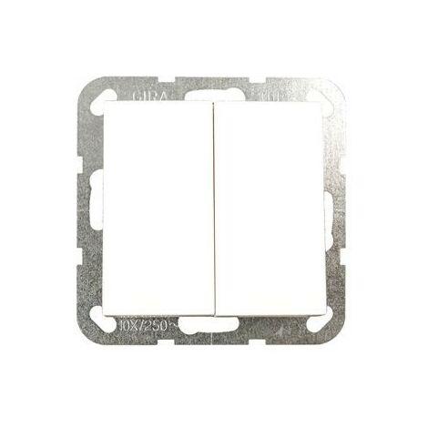Interrupteur-poussoir double System 55 blanc pur brillant