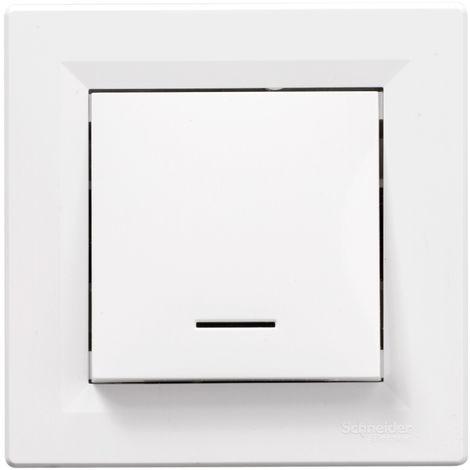 Interrupteur poussoir lumineux Asfora encastrable complet - Blanc