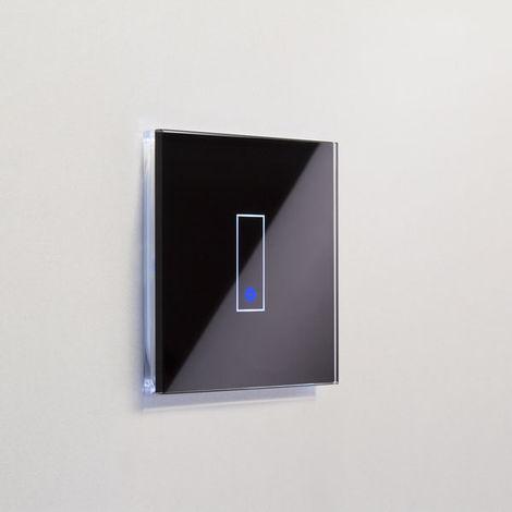 Interrupteur simple WiFi intelligent verre noir tactile compatible Google Home Amazon Alexa Iotty - IOTTY