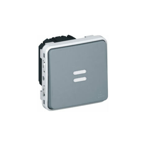 Interrupteur temporisé lumineux Plexo composable IP55 - Gris - Legrand