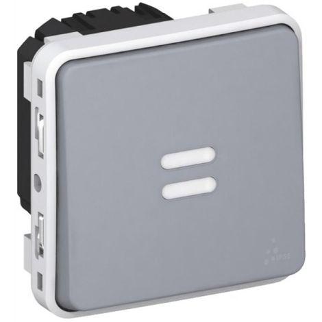 Interrupteur temporisé lumineux programme Plexo composable gris 230V 50/60 HZ