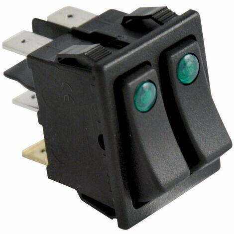 Interrupteur unipolaire, double voyant, FRISQUET, Ref. F3AA40156