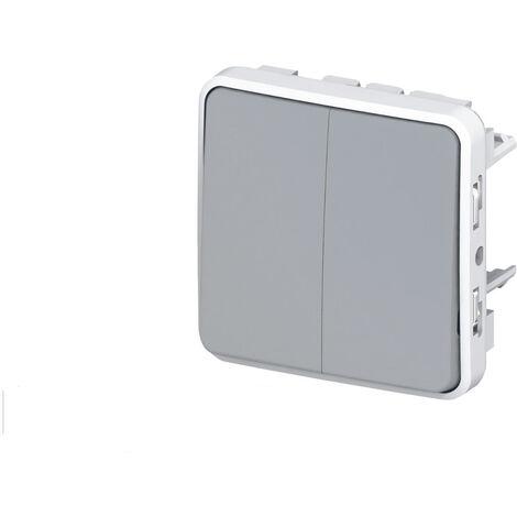Interrupteur va-et-vient double Legrand Plexo™ gris composable