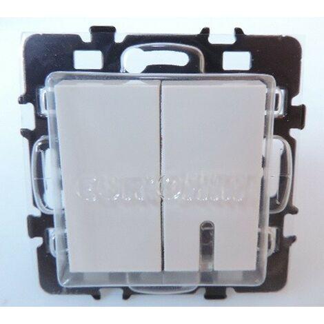 Interrupteur va-et-vient + interrupteur va-et-vient lumineux / témoin LED bleu blanc ESPRIT EUR'OHM 61812