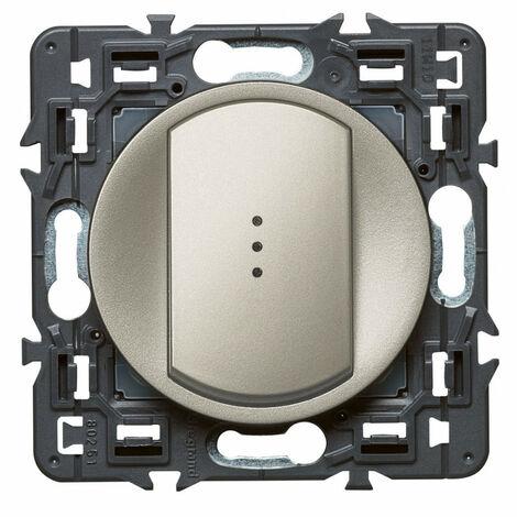 Interrupteur-va-et-vient lumineux Céliane Soft 10A Titane (099512)