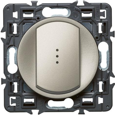 Interrupteur/va-et-vient lumineux (voyant fourni) Céliane Soft - 10A - Titane