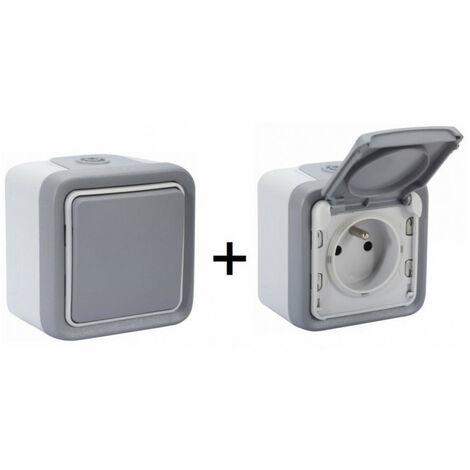 Interrupteur va-et-vient + Prise 2P+T avec volet de protection Plexo gris LEGRAND - plusieurs modèles disponibles