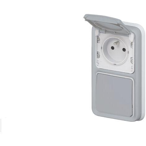 Interrupteur va-et-vient + prise Legrand Plexo™ gris encastré