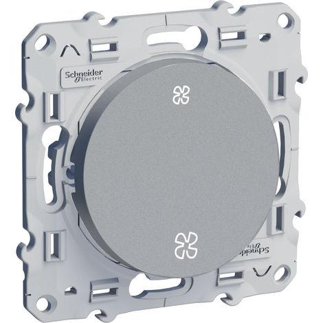 Interrupteur VMC Odace - Sans position arrêt - Connexion rapide - Aluminium