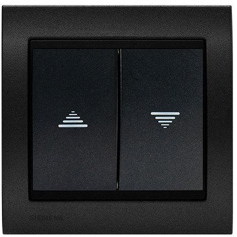 Interrupteur Volet Roulant Anthracite Delta Iris + Plaque Métal texturé Alu Noir - SIEMENS