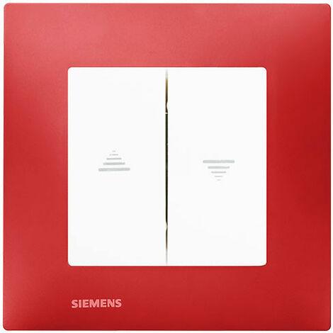 Interrupteur Volet Roulant Blanc Delta Viva + Plaque Rouge - SIEMENS