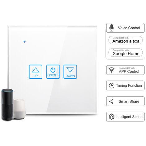 Interruptor atenuador inteligente,panel de vidrio,control por voz,blanco,1 unidad