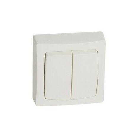 Interruptor-conmutador doble de superficie monobloc blanco Legrand Oteo 086020