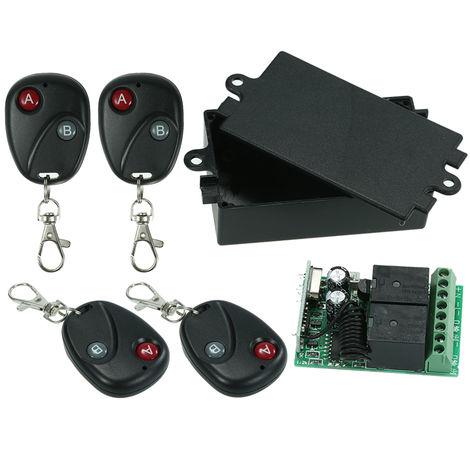 Interruptor de control remoto de 433Mhz DC 12V y 4PCS 2 controles remotos clave