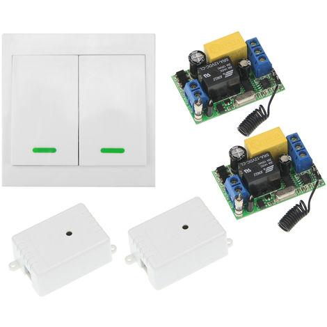 Interruptor de control remoto inalambrico 2PCS, receptor AC 220V, 433MHz, 2 pandillas