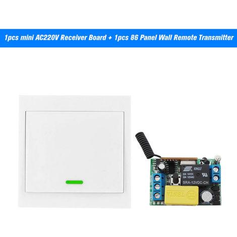 Interruptor de control remoto inalambrico AC 220V Receptor 1 cuadrilla 433MHz pulsador interruptor de la pared del panel ligero transmisor remoto con pegatinas gratuito
