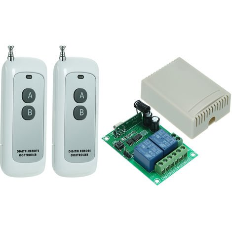 Interruptor de control remoto inalambrico de rele universal 10A, 433MHz DC 12V 2CH