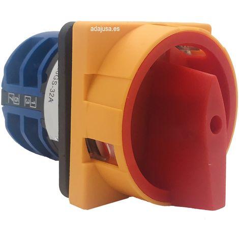 Interruptor de levas tetrapolar 4 polos 25A Mando amarillo-rojo