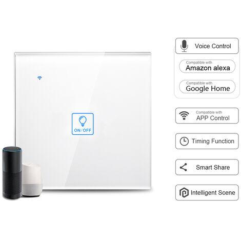Interruptor de luz t¨¢ctil de pared WiFi inteligente, control de voz, blanco, 1 cuadrilla