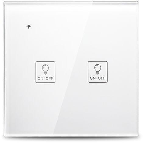 Interruptor de luz t¨¢ctil de pared WiFi inteligente, control de voz, blanco, 2 cuadrilla