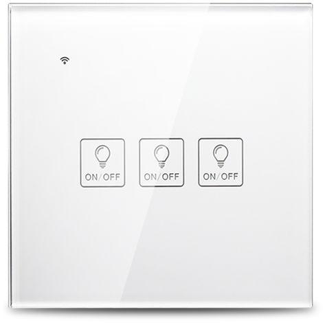 Interruptor de luz t¨¢ctil de pared WiFi inteligente, control de voz, blanco, 3 cuadrilla