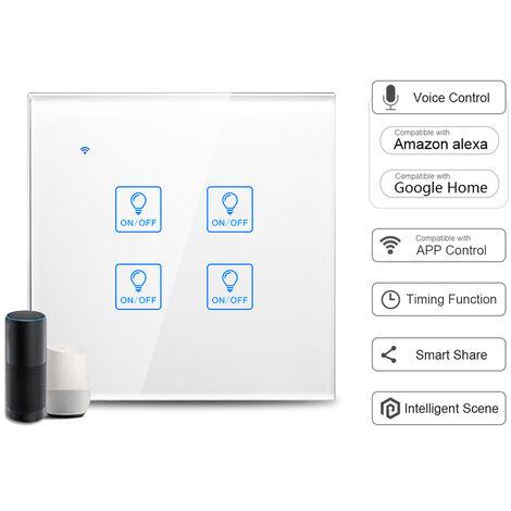 Interruptor de luz t¨¢ctil de pared WiFi inteligente, control de voz, blanco, 4 cuadrilla