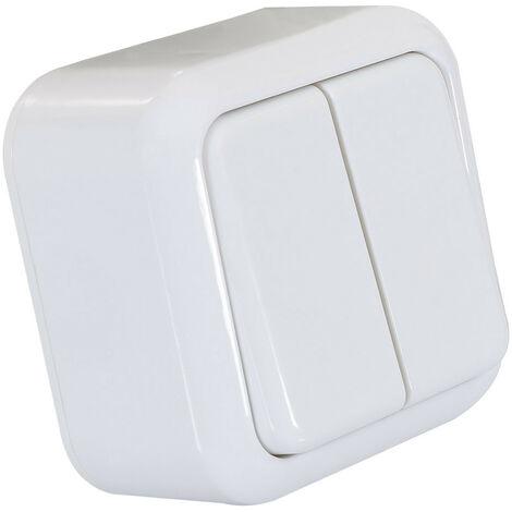Interruptor de Superficie Doble Conmutado Blanco