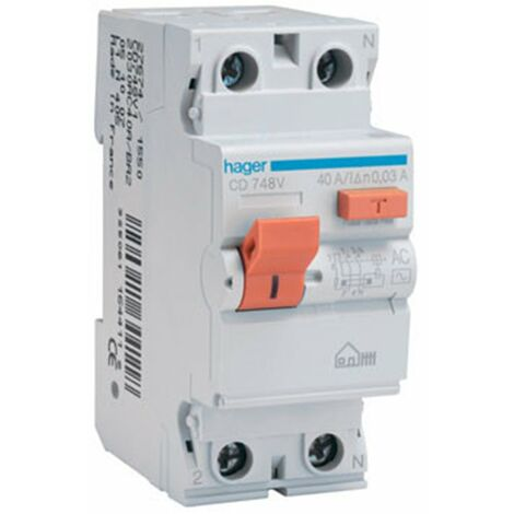 Interruptor Diferencial Hager CD748V para vivienda 2 polos 40 A 30ma