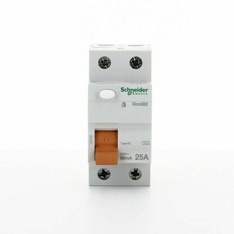 Interruptor Diferencial puro Schneider 2P 25A 30MA AC DOMB22530C