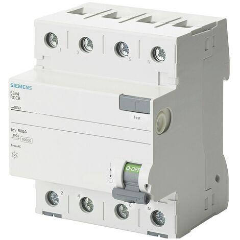 Interruptor diferencial Puro, Siemens 4 Polos 40A 300mA de CA-Tipo, De 4 Módulos