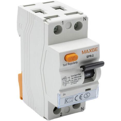 Interruptor diferencial residencial 2P-30mA-Clase AC-6kA Blanco 40 A