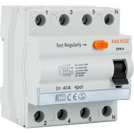 Interruptor Diferencial Residencial 4P-30mA-Clase AC-10kA