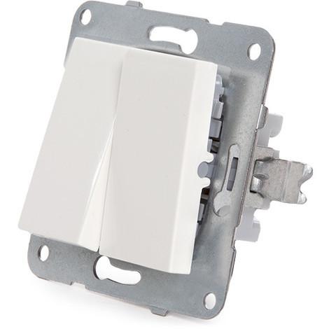 Interruptor Doble Panasonic Karre 10A 250V/Bastidor Metálico con Garras/Tecla Blanca (GH-90963602)