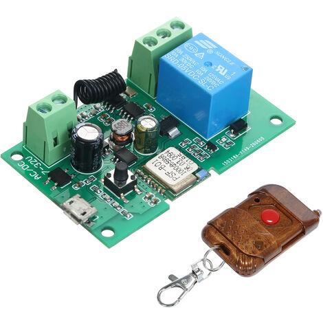 Interruptor eWeLink DC 5V 12V 24V 32V Wifi RF 433MHz Modulo de rele Smart Home Automation Modulos Telefono aplicacion de control remoto del interruptor de control de temporizador Alexa Google Inicio de control por voz, con un control remoto de plastico