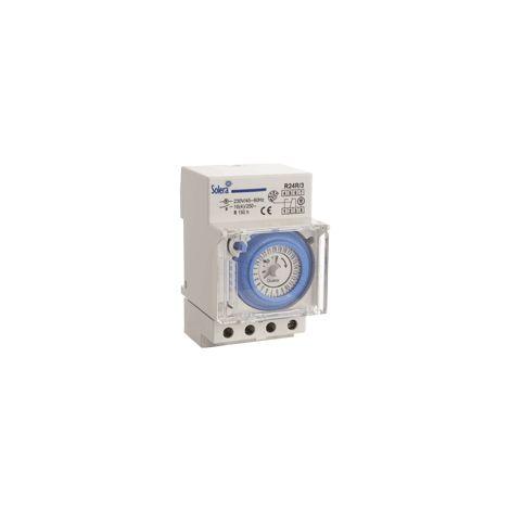 Interruptor horario con reserva 24 horas analógico con 3 módulos SOLERA R24R/3