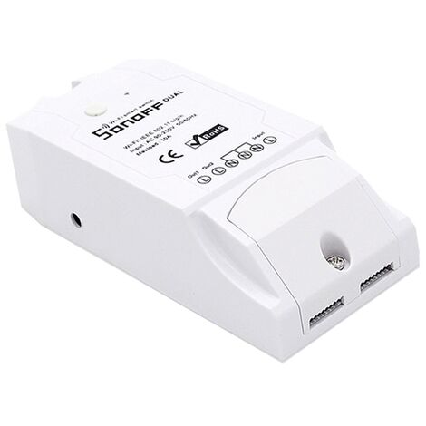 Interruptor Inalámbrico 2 Canales Wi-Fi 2.4GHz 90V~250V AC 16A Sonoff Dual
