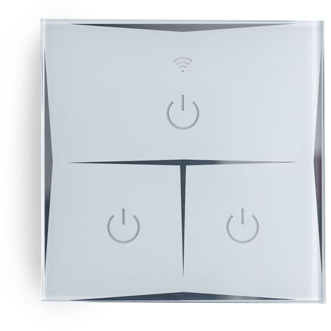 Interruptor Inteligente Táctil Cristal 3 Vía 1800W Compatible Google Home/Alexa [HIT-KS-601-3] (HIT-KS-601-3)