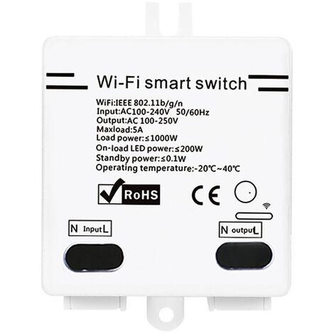 Interruptor inteligente Wifi, 5A/1000W, con funcion de temporizador, control remoto