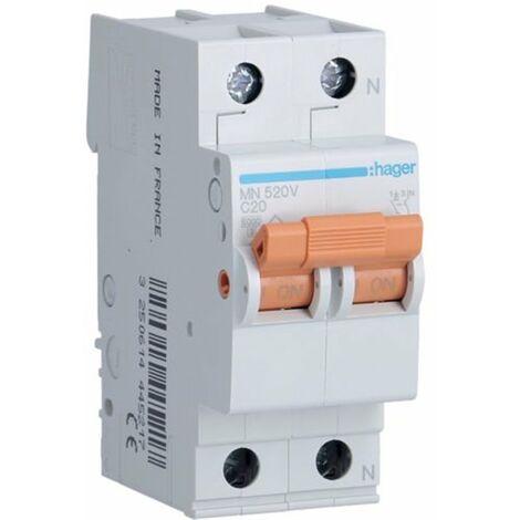 Interruptor magnetotermico para vivienda Hager MN520V 1P +N 20A CURVA-C