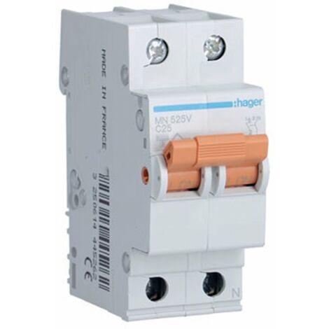 Interruptor magnetotermico para vivienda Hager MN525V 1P+N 25A CURVA-C