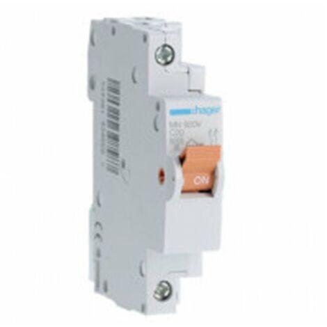 Interruptor magnetotermico para vivienda Hager MN920V 1P+N 20A CURVA-C 1 modulo