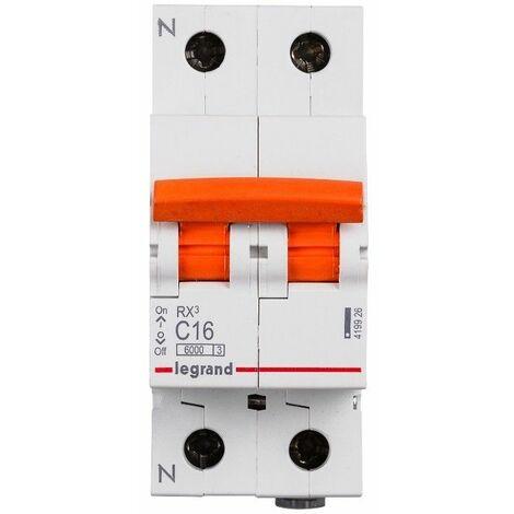 Interruptor magnetotermico para vivienda Legrand 419935 RX3 2 polos 6KA 16A