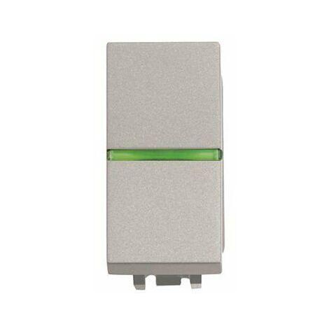 Interruptor NIESSEN ZENIT 2101.5 plata con PILOTO- 1 modulo Plata