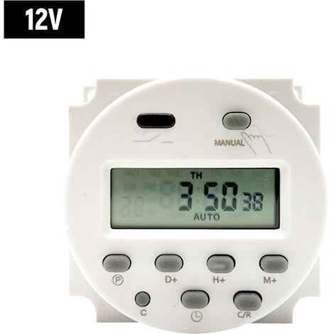 Interruptor programable digital de cuenta atras Tiempo Comando Mini Cambio del temporizador de encendido automatico Controlador 12V-Offs y negro