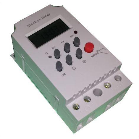 Interruptor programador horario digital panel/carril blanco - ASJD