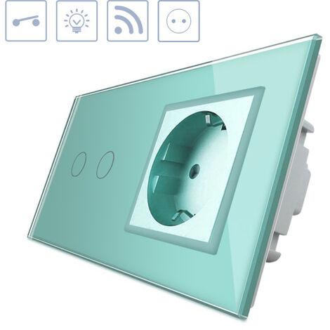 Interruptor táctil, 2 botones + 1 enchufe, frontal verde + remoto