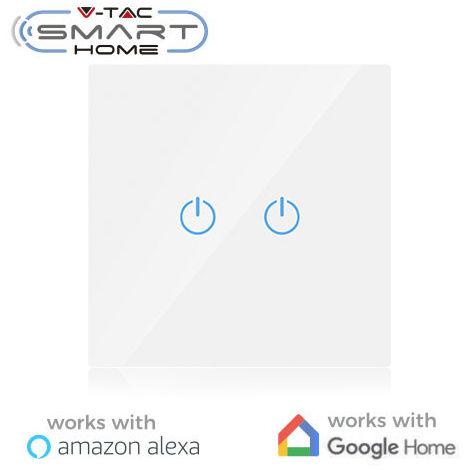 Interruptor táctil 2 salidas V-TAC Smart Home WIFI IP40 Blanco compatible con Amazon Alexa y Google Home